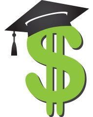 dollar sign with graduate cap