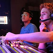 Students in a media control room