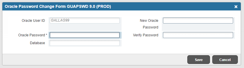 A screenshot displaying the Oracle Password Change Form GUAPSWD database in Banner 9.