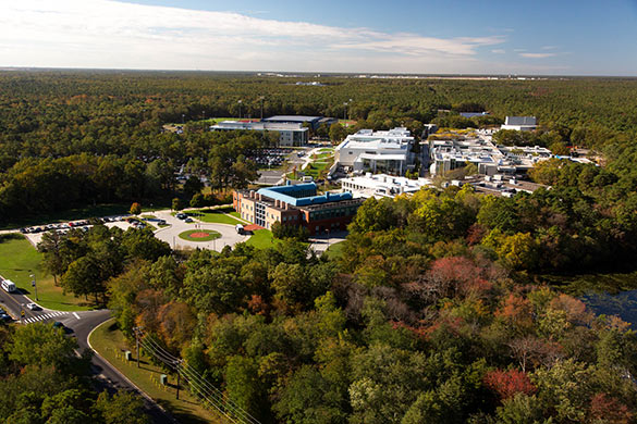 aerial view of Stockton's main campus